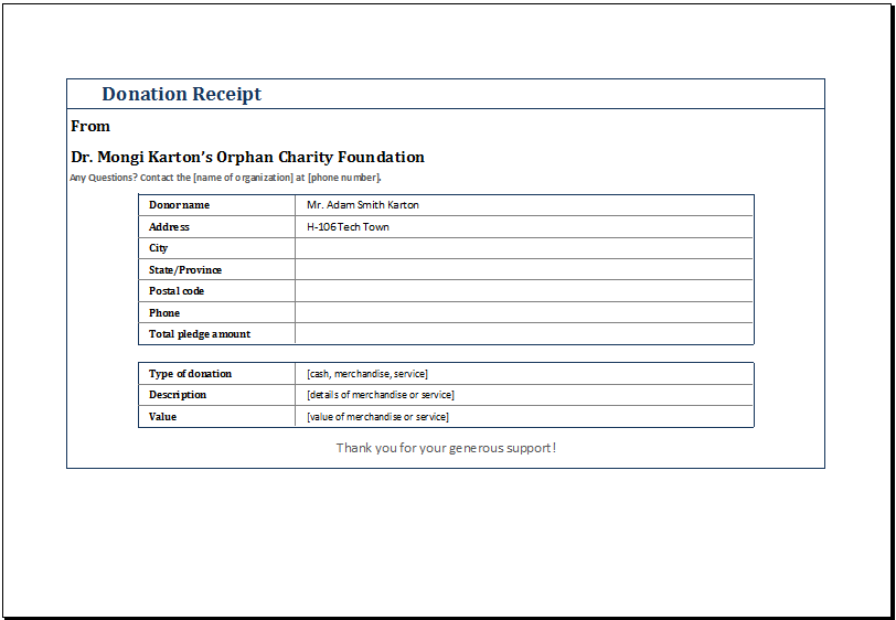 Donation Form Format